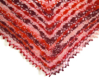 triangular mohair crochet shawl in reds and oranges