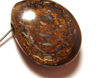 Boulder Opal Bead Cabochon Koroit Yowah Nut Australian Boulder Opal Side Drilled -Interesting Veining Nut Portion