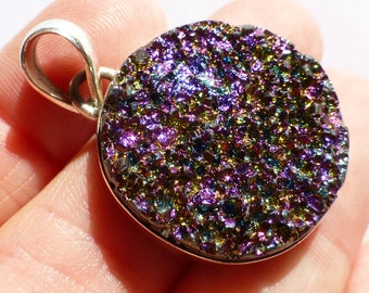 Titanium Druzy Pendant Mystic Magenta Purple Round Amazing Deep Color Change Magical Slide Bead Sterling Silver Ready To String or Beadwork