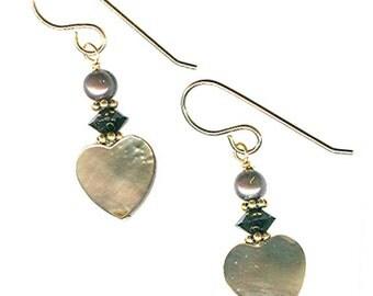 blacklip mother-of-pearl 12mm heart earrings