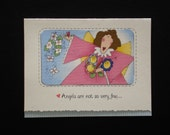 Angel Encouragement Card, Friendship Card, (F34) colored front design is FABRIC