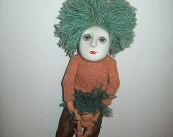 """Playing Mother and Child spirit doll """"Justhrow""""  Hand Painted Ceramic Mix Media Sculpture ~ by Jimee Traut ~ 1985"""
