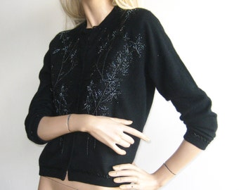 Vintage 50s Black Lambswool Beaded Pin Up Girl Mad Men Cardigan Sweater