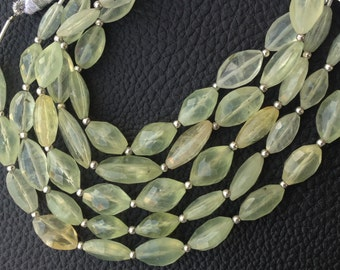 Finest Quality Full 7 Inch Strand, PREHNITE Faceted Mix Shape NUGGETS Briolettes, 12-13mm Long,Superb Item at Low Price