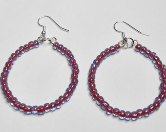 Bohemian Style Beaded Hoop Earrings Sapphire Hyacinth Silver Lined Handmade