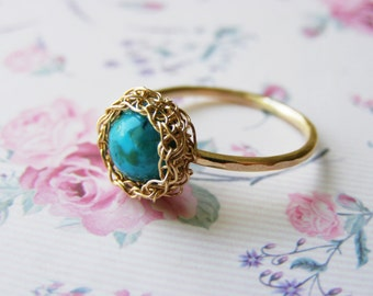 Gold Turquoise Ring, Solitaire Ring, Turquoise Gemstone Ring, Wire Crochet Jewelry, Gold Stacking Ring