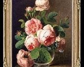 1700's Flowers Miniature Dollhouse Floral Art Picture 6662