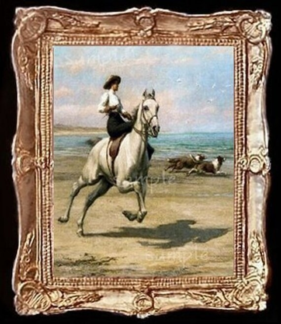 Sidesaddle Lady With Collies Dollhouse Horse Art Picture 6286