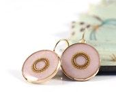 Light pink earrings , rose pink ,  lightweight earrings , leverback earring , blush pink earrings , classic earrings ,  gold round