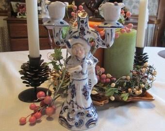 German Candle Holder Figural Blue and White Porcelain
