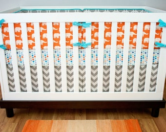 Baby Bedding, Nursery Crib Set, Orange Elephants Gray Chain Link Chevron Dots Navy Blue Aqua Gray