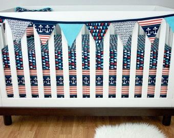 Aqua Navy Orange Sheet, Skirt, Pennant and Pillow (Bumperless Baby Bedding Crib Set), Nautical Ahoy Anchors Sea Nursery Crib Set