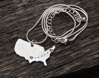 Custom Necklace - Long Distance Love - In Hand Stamped Aluminum