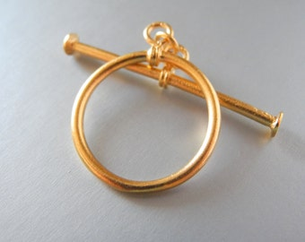 24k Gold Vermeil Simple Toggle Clasp Bali Sterling Silver Gold Plated 25mm
