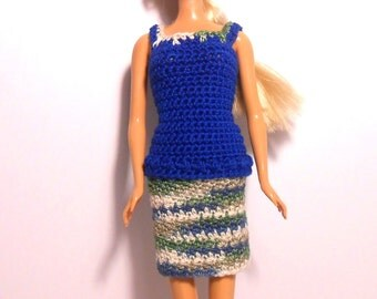 Crocheted Doll Two Piece Outfit, Blue Doll Top, Fashion Doll Clothes, Fashion Doll Skirt and Top