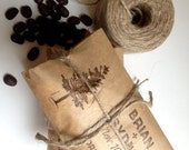 Rustic Winter Wedding Favors. Unique coffee favors with a personalized stamp. Set of 30. Custom Corporate Gift.