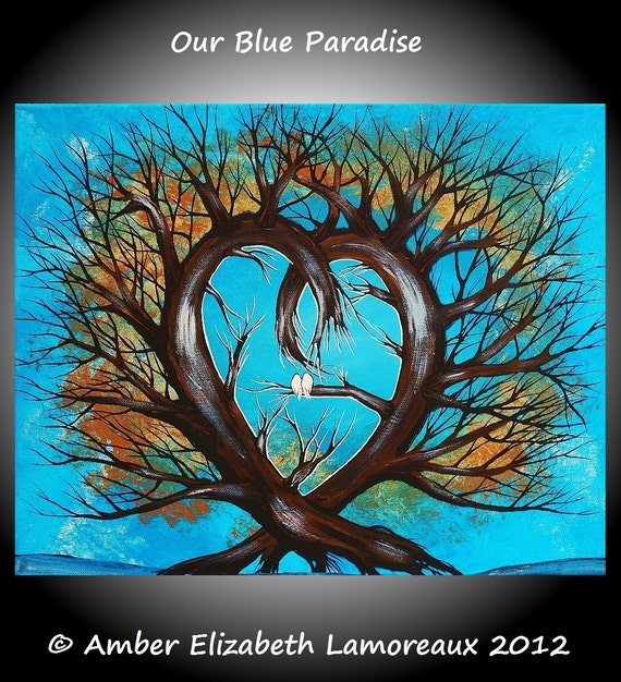 Fine Art Giclee Print of Original Painting Our Blue Paradise Amber Elizabeth Lamoreaux Love Birds Heart Tree Turquoise