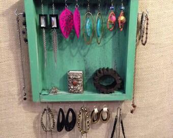 Upcycled Jewelry Organizing Display (Aqua Drawer)