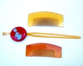 Vintage hair combs 3 Japanese geisha kanzashi hair accessories hair pin hair pick hair slide hair jewelry headdress hair ornament  (BBO)