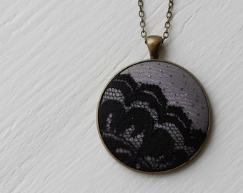 Silver Dot Necklace, Black Lace Necklace, Gray Pendant, Metallic Fabric Jewelry, Unique Necklace for Women, Cute Gift