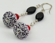 Black and White Saucer Sterling Silver Dangle Earrings, Vintage Beaded Earrings