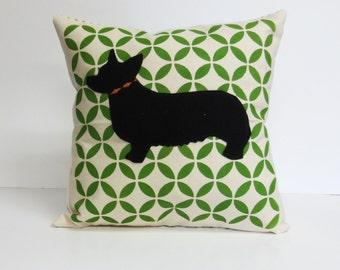 Geometric Print Corgi Silhouette Pillow, Decorative Colorful Geometric Print Felt Corgi Silhouette Pillow, Corgi Dog Pillow, Home Decor
