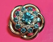 1940s Rhinestone Vintag Brooch Pin Aqua Blue Vintage Jewelry