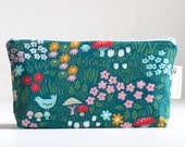makeup bag. small. waterproof. cosmetic bag. folk art inspired. organic cotton.