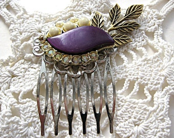 Floral hair comb, purple hair comb, bride, bridesmaid, flower girl, mother, vintage earring, bronze leaves, woodland, barn, rustic, country