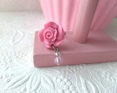 Pink Rose Dangling Bead Ring