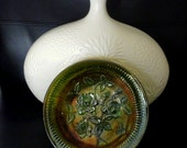 Imperial Carnival Glass Lustre Rose Pattern In Green Helios
