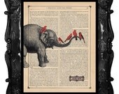 Elephant and Cardinal Art Print - elephant red birds - elephant birds on antique book page music page