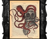 RED OCTOPUS diver helmet art print - scuba diver octopus - antique diver helmet art print octopus tentacles wall art octopus poster art