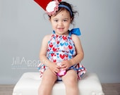 The Liberty patriotic 4th of July ruffle bloomers diaper cover romper sunsuit baby newborn infant toddler girl