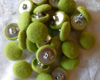 Vintage Fabric Buttons,  Chartreuse or Lime Green Fabric buttons with Metal Shanks, Very Lightweight Felt like Green Buttons - 20 in Lot