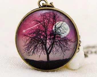 Double Side Shooting Star Wish Necklace Full Moon & Tree of Life Pendant Gift New