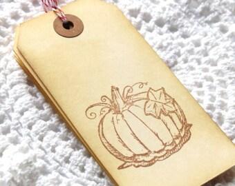 CIJ SALE Pumpkin Handstamped Tags 6pcs