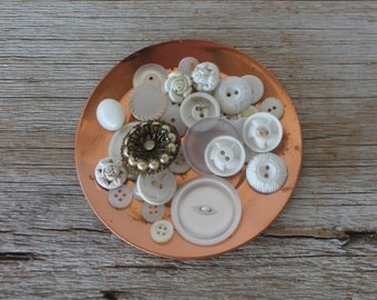 Assortment of White Vintage Buttons, No. 2