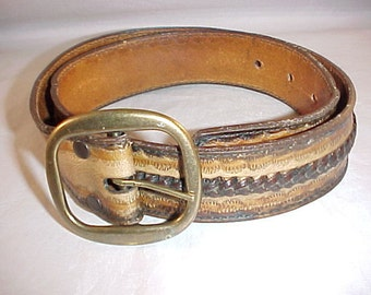 30 Inch Leather Belt Hand laced Made in Haiti