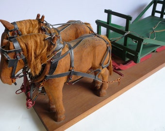 Vintage Wood Horses hand Carved Draft working Horse Harness Pulling sled Sleigh two Pair Primitive Folk Art