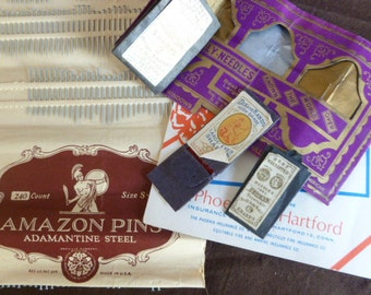 5 Vintage Needle books and Amazon pins