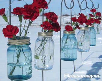 5 Mason Jar Hanging Flower Frog Lids for Hanging Flowers, Lanterns, Church Pew Decorations, No Mason Jars