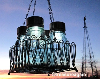 Mason Jar Chandelier Solar Lights, Antique Blue Mason Jars, Black Wire Basket, Upcycled Lighting, Wedding Garden Party
