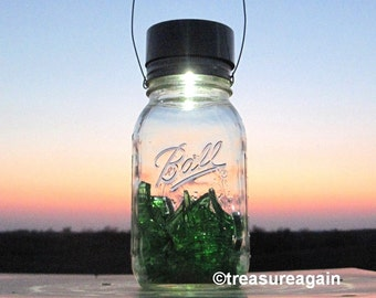 Recycled Glass Light Green Broken Wine Bottle in Ball Jar, Eco Friendly Upcycled Recycled Repurposed Mason Jar Solar Light