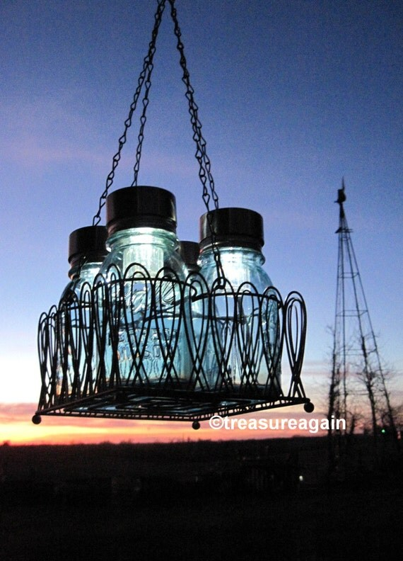 Mason Jar Chandelier Solar Lights, Antique Blue Mason Jars, Black Wire Basket, Upcycled Lighting, Wedding Garden Party