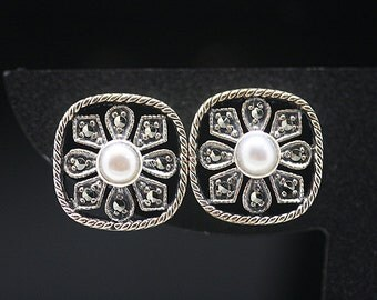 1pcs(te-0053) -sterling silver earrings with marcasite and fresh water pearl