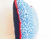 Bright Red and Navy Blue Ikat Pillow Cover, Red Decorative Pillow Cover, Bohemian Pillows, Large Red Blue Sofa Cushion Covers, Ikat Pillows