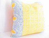 Mustard Yellow and Gray Pillows, Square Pillow Decorative Pillows, Bohemian Chic, Grey Boho Cushions, Patchwork Cushion Bohemian Pillow Case