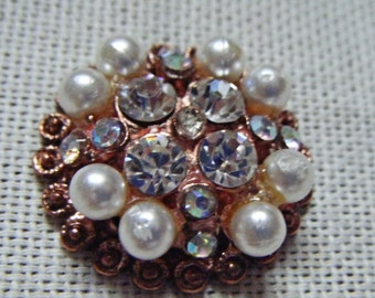 Vintage Pin Button Small Round Pearl and Copper Pin Button