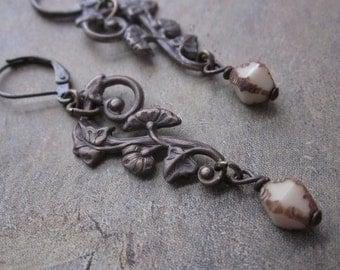 brass filigree and vintage cream - the devora earrings
